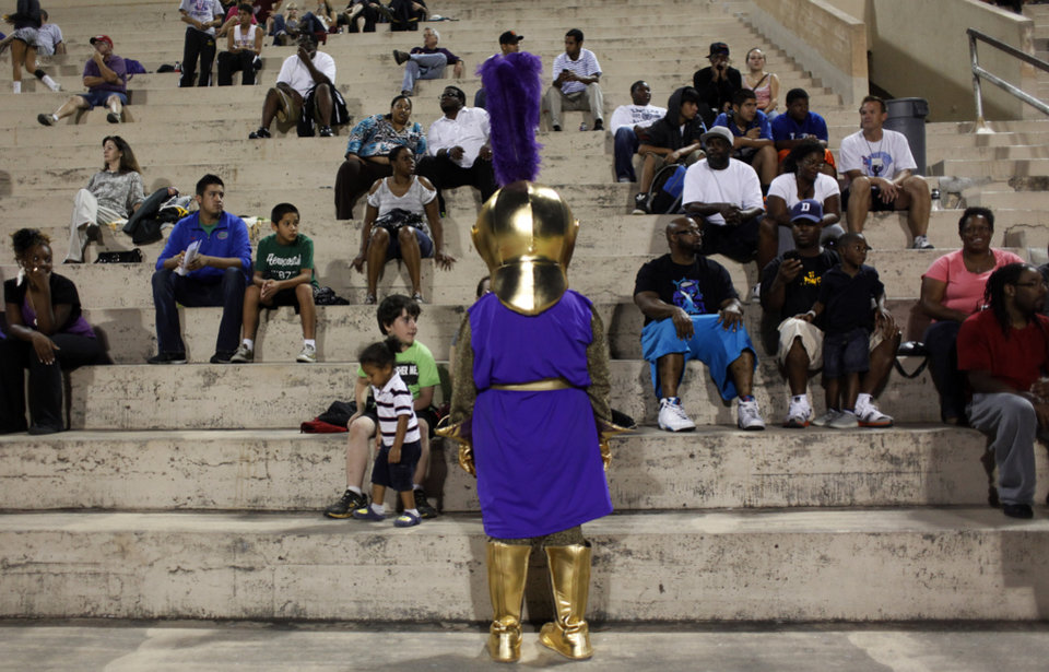 Knight mascot in he stands at the Northwest Classen vs. Western Heights high school football game at Taft Stadium Thursday, September 20, 2012. Photo by Doug Hoke, The Oklahoman