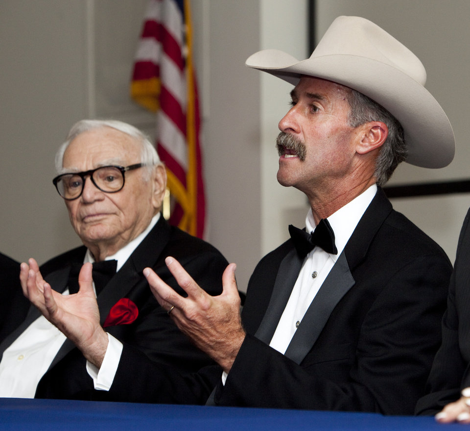 Wyatt McCrea, right, talks to the press next to  Ernest Borgnine before the Western Heritage Awards at the National Cowboy & Western Heritage Museum in Oklahoma City, Saturday, April 21, 2012. McCrea and Borgnine are the masters of ceremonies for the event. Photo by Nate Billings, The Oklahoman