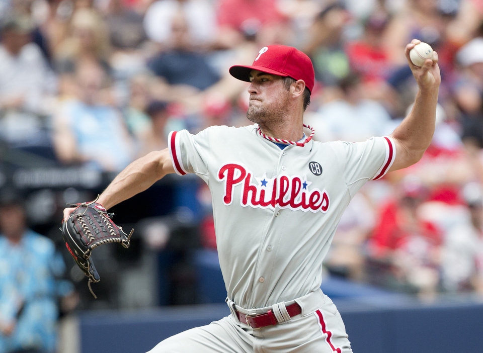 Philadelphia Phillies starting pitcher Cole Hamels works in the second inning of a baseball game against the Atlanta Braves Monday, Sept. 1, 2014, in Atlanta. (AP Photo/John Bazemore)