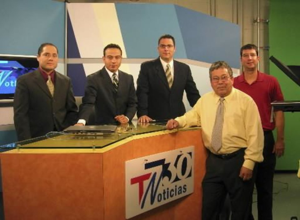 2006 file photo of Tyler Media: left to right): Carlos Toledo, news director/anchor; Claudio Serrano, weather; Rene Nava, sports anchor; Armando Rubio, station manager; Ty Tyler, station owner. Photo provided