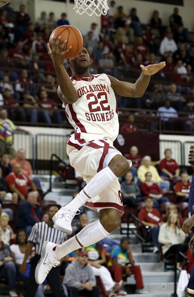Oklahoma's Amath M'Baye (22) shoots in the second half as the University of Oklahoma (OU) Sooners men's basketball team defeats  the Central Oklahoma Bronchos 94-66 at McCasland Field House on Wednesday, Nov. 7, 2012  in Norman, Okla. Photo by Steve Sisney, The Oklahoman