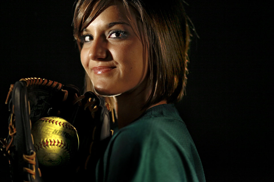 Photo - HIGH SCHOOL: Softball Player of the Year: Edmond Santa Fe High School's Sierra Bronkey poses for a photo in the OPUBCO studio on Wednesday, Nov. 18, 2009, in Oklahoma City, Okla.  ORG XMIT: KOD