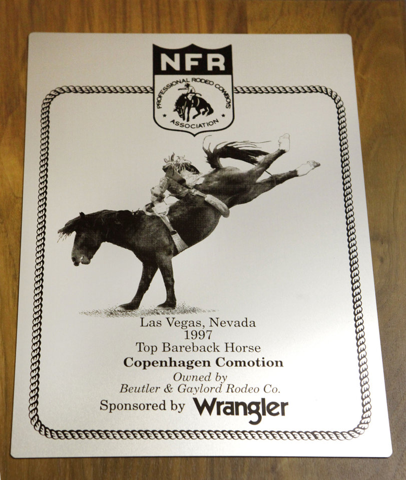 Photo - Commotion was named the top bareback horse at the 1997 Wrangler National Finals Rodeo in Las Vegas. In other honors, the horse went on to be named the Professional Rodeo Cowboys Association's bareback horse of the year in 1998, 1999 and 2000.   David McDaniel - The Oklahoman