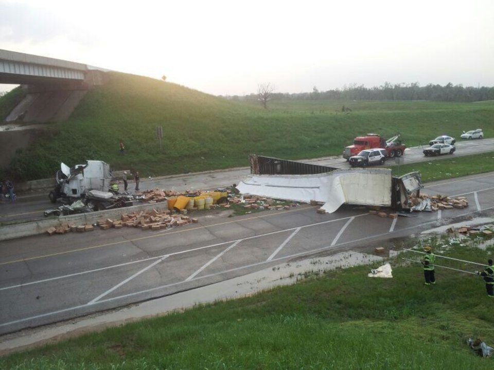 Photo - Overturned semi at I-40 and 177. Photo by Jaclyn Cosgrove