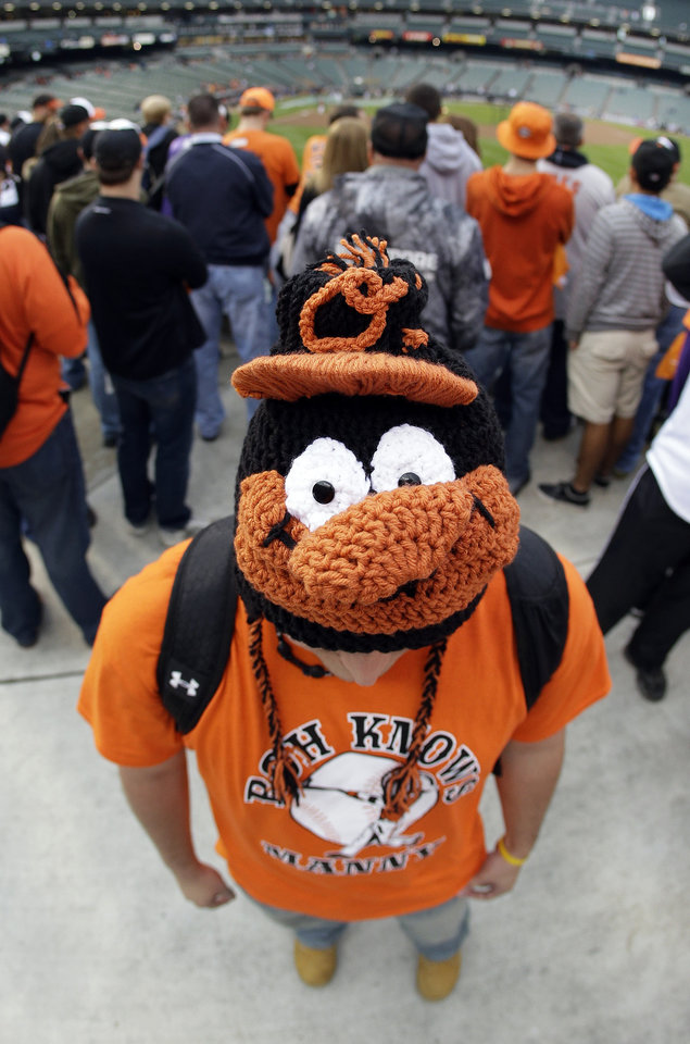 In this photo taken with a fisheye lens, Baltimore Orioles fan Corey Roth displays his homemade, Orioles-themed knit cap before Game 1 of the American League division baseball series against the New York Yankees on Sunday, Oct. 7, 2012, in Baltimore. (AP Photo/Patrick Semansky)