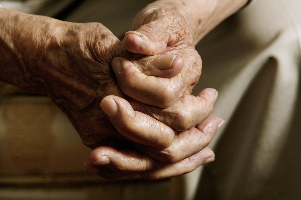 The hands of Oklahoma City resident Robert Jones, 103, as he talks at his home in Oklahoma City Thursday, Nov. 6, 2008, about this week\'s presidential election. BY PAUL B. SOUTHERLAND, THE OKLAHOMAN
