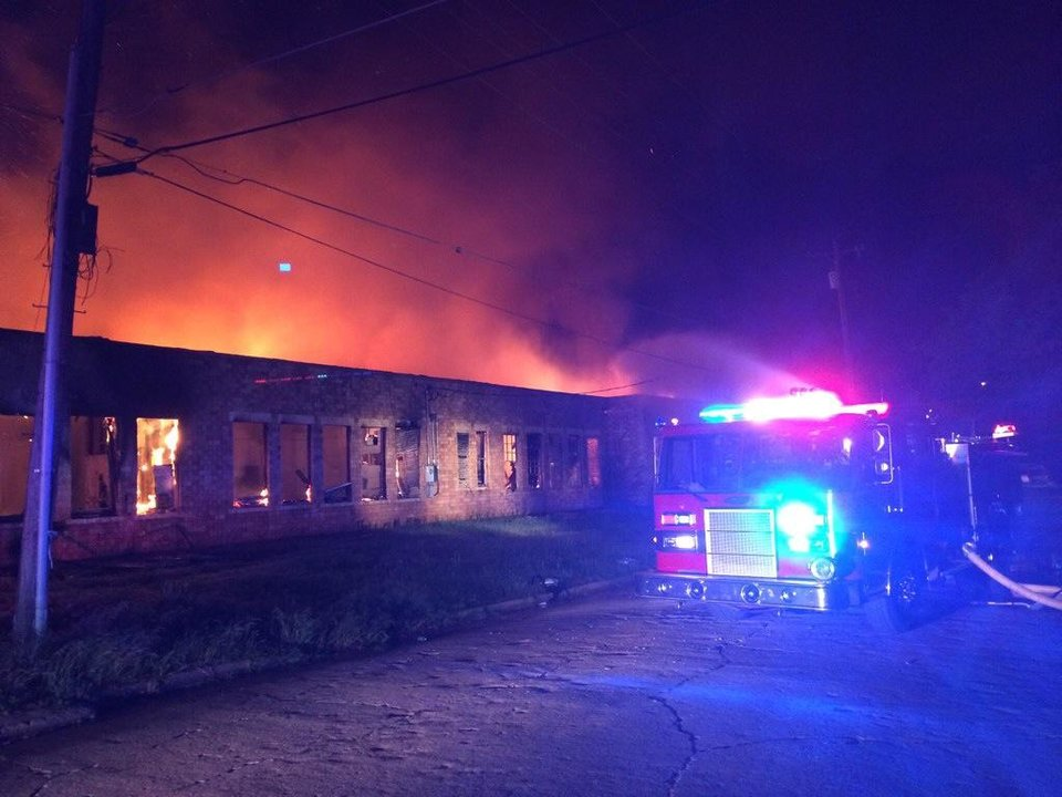 Photo -  Firefighters battle a blaze at the former Banner School in Guthrie. The school opened in 1935, but was no longer in use. Fire Chief Eric Harlow took this photo.    -