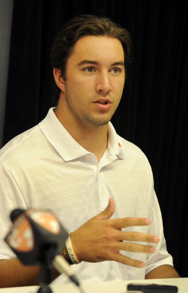 Photo - University of Tennessee NCAA college football  quarterback Justin Worley talks about the upcoming season during a press conference Thursday, July 31, 2014, in Knoxville, Tenn. The Vols open at home Aug. 31 against Utah State. (AP Photo, Michael Patrick/Knoxville News Sentinel)