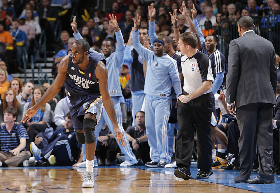 Memphis\' Quincy Pondexter (20) reacts after hitting a three point shot during the NBA basketball game between the Oklahoma City Thunder and the Memphis Grizzlies at Chesapeake Energy Arena on Wednesday, Nov. 14, 2012, in Oklahoma City, Okla. Photo by Chris Landsberger, The Oklahoman