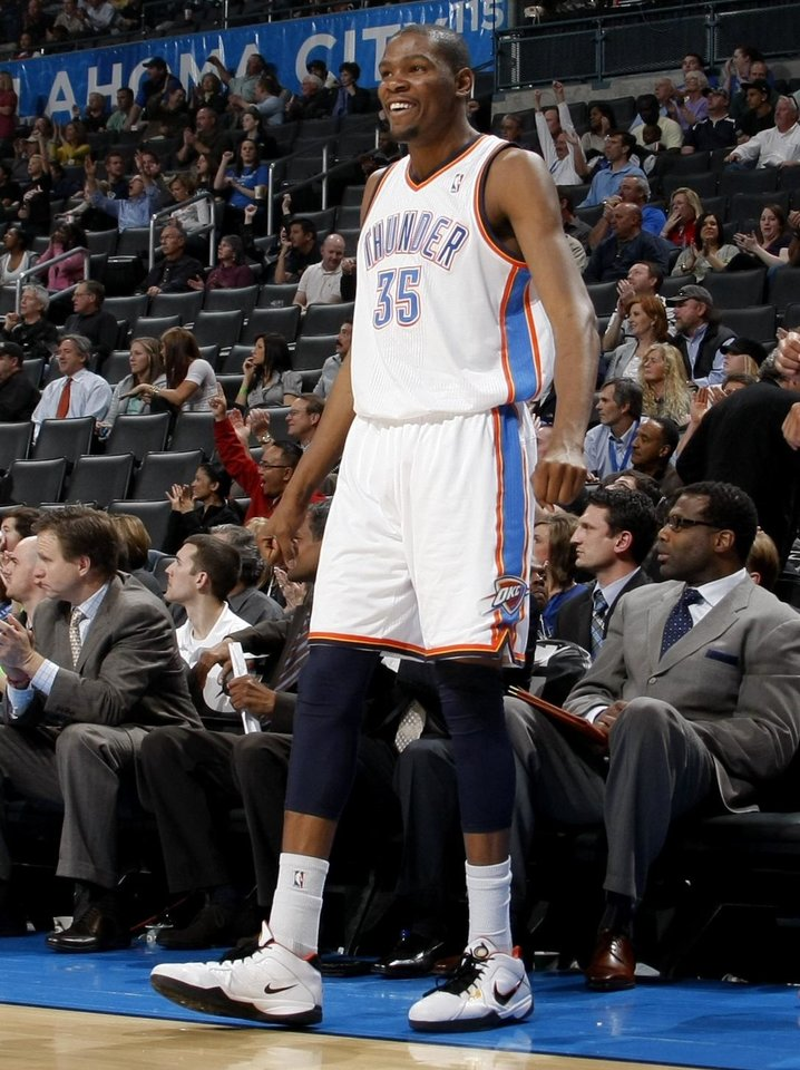 Oklahoma City's Kevin Durant (35) reacts during the NBA basketball game between the Oklahoma City Thunder and the Los Angeles Clippers at the Oklahoma CIty Arena, Tuesday, Feb. 22, 2011.  Photo by Bryan Terry, The Oklahoman