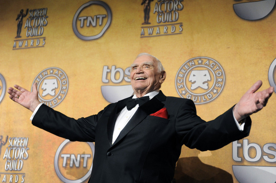 FILE - In this Jan. 30, 2011, file photo, Ernest Borgnine poses backstage after receiving the life achievement award at the 17th Annual Screen Actors Guild Awards in Los Angeles. A spokesman said Sunday, July 8, 2012, that Borgnine has died at the age of 95. (AP Photo/Chris Pizzello, File) ORG XMIT: NY801