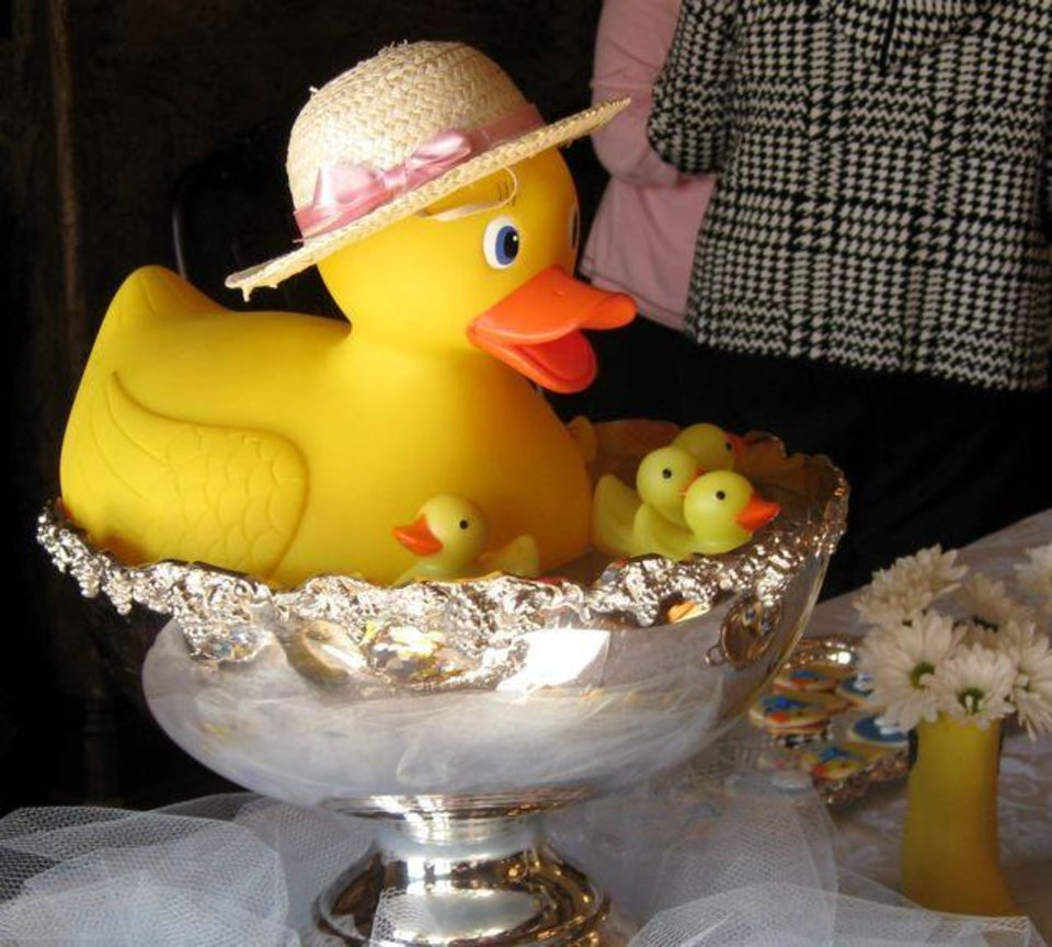 SIP AND SEE...The silver punch bowl with...yep....floating ducks.  (Photo by Helen Ford Wallace).