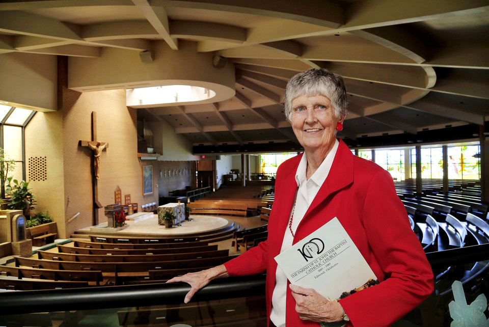 Photo - Virginia Peters, a long-time member of St. John the Baptist Catholic Church, poses for a picture at the Edmond church . Peters coordinated the parish's 125th anniversary events.  Photo by Jim Beckel,  The Oklahoman  Jim Beckel