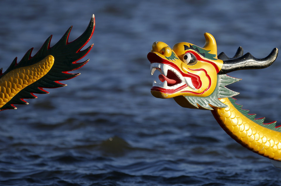 Decorations on a dragon boat are seen during the Oklahoma Regatta Festival on the Oklahoma River in Oklahoma City, Thursday, Oct. 3, 2013. Photo by Bryan Terry, The Oklahoman