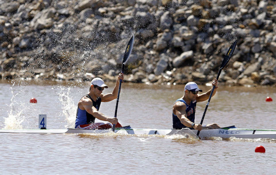 Photo - Carlos Garcia and Rami Zur compete in the men's double kayak 200m final during races for USA Canoe/Kayak World Cup Team Trials on the Oklahoma River,  Saturday, April 21, 2012. Photo by Sarah Phipps, The Oklahoman.