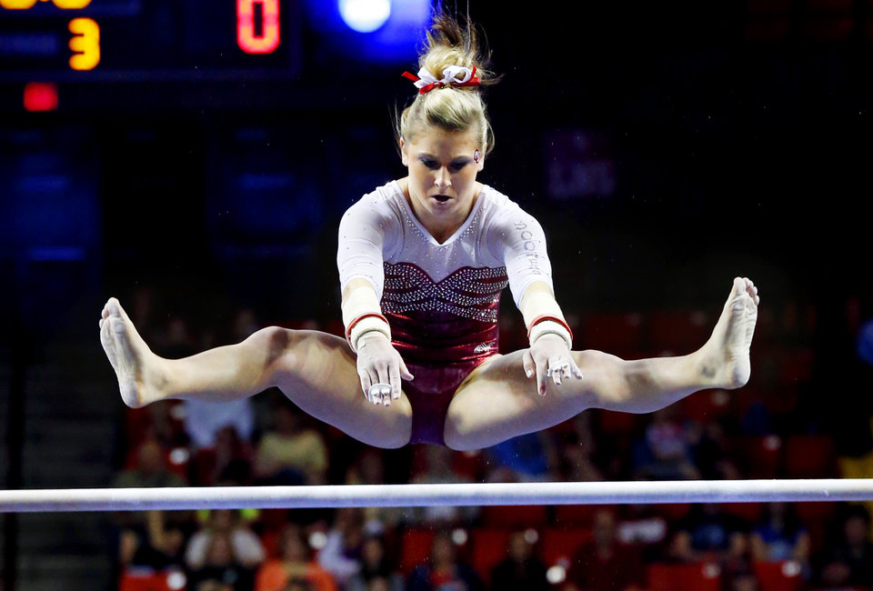 Erica Brewer competes in the uneven bars as the University of Oklahoma Sooners (OU) compete at the NCAA, Women's Gymnastics Regional at The Lloyd Noble Center on Saturday, April 6, 2013  in Norman, Okla. Photo by Steve Sisney, The Oklahoman