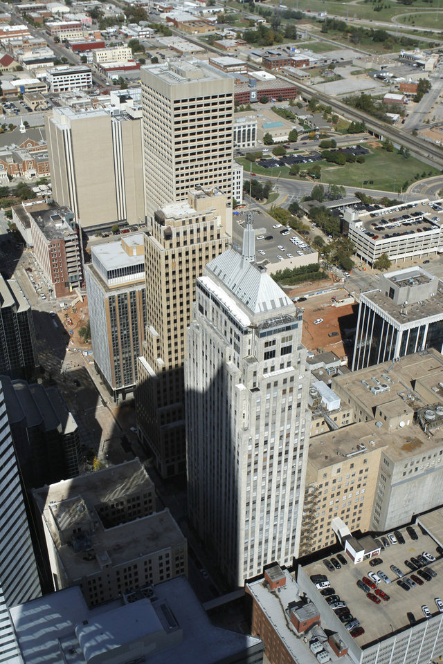 Photo - AERIAL VIEW: Downtown viewed from the Devon Tower in Oklahoma City, Wednesday October 17, 2012. Photo By Steve Gooch, The Oklahoman