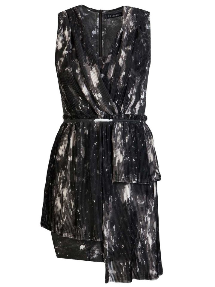 Actress Nina Dobrev\'s paint-spatter pattern is a fun print to integrate into your wardrobe. Get a similar look with the Religion Splatter dress from Farfetch.com for $176. (Courtesy Farfetch.com via Los Angeles Times/MCT)