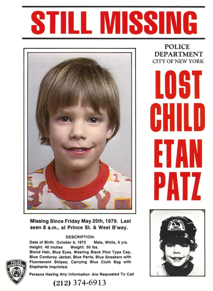 Photo -   FILE - This undated file image provided by the New York Police Department shows a flyer distributed by the New York Police Department of Etan Patz, who vanished in New York on May 25, 1979. Pedro Hernandez, 51, the suspect in the 1979 disappearance of a Patz, has been indicted on charges of murder and kidnapping in the disappearance of Patz, his lawyer Harvey Fishbein said Wednesday, Nov. 14, 2012. Hernandez was arrested this year, and investigators say he confessed. (AP Photo/Courtesy New York Police Department) EDITORIAL USE ONLY, FOR USE ONLY IN ILLUSTRATING EDITORIAL STORIES REGARDING THE DISAPPEARANCE OF ETAN PATZ OR OTHER MISSING CHILDREN