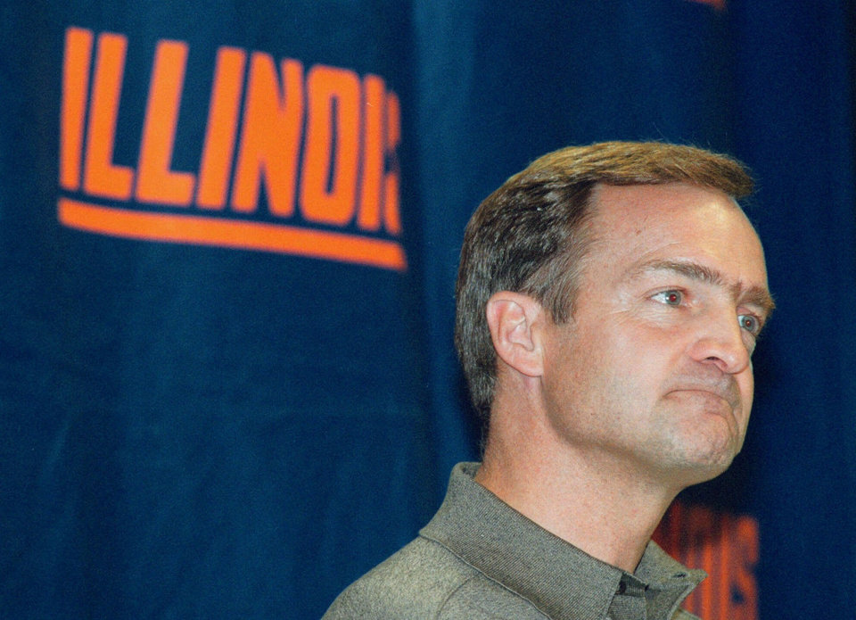 Photo - Former Illinois men's basketball coach Lon Kruger listens to a question during basketball media day in Champaign, Ill., in this Oct. 15, 1999 photo. The Atlanta Hawks said Thursday May 25, 2000 they have hired Lon Kruger as their new coach. (AP Photo/Mark Cowan)
