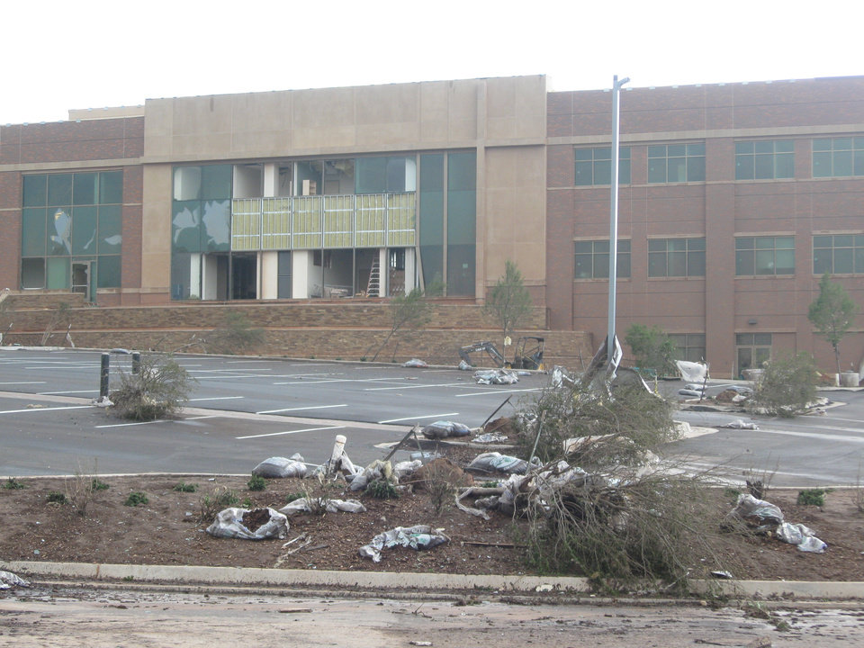 Damage at the Mercy location in Edmond.