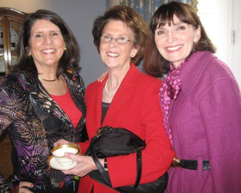 HEARTS AND LOTS OF FLOWERS...Mary Price, Linda Steinhorn and Betsy  Hyde were at the party. ( Photo by Helen Ford Wallace).