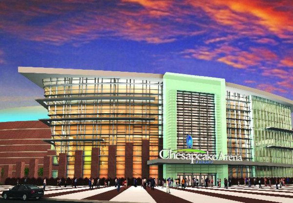 Photo - This is an artist's rendering of what the entrance to the Chesapeake Energy Arena in downtown Oklahoma City may look like after the new signage is added.  Illustration provided - Illustration provided