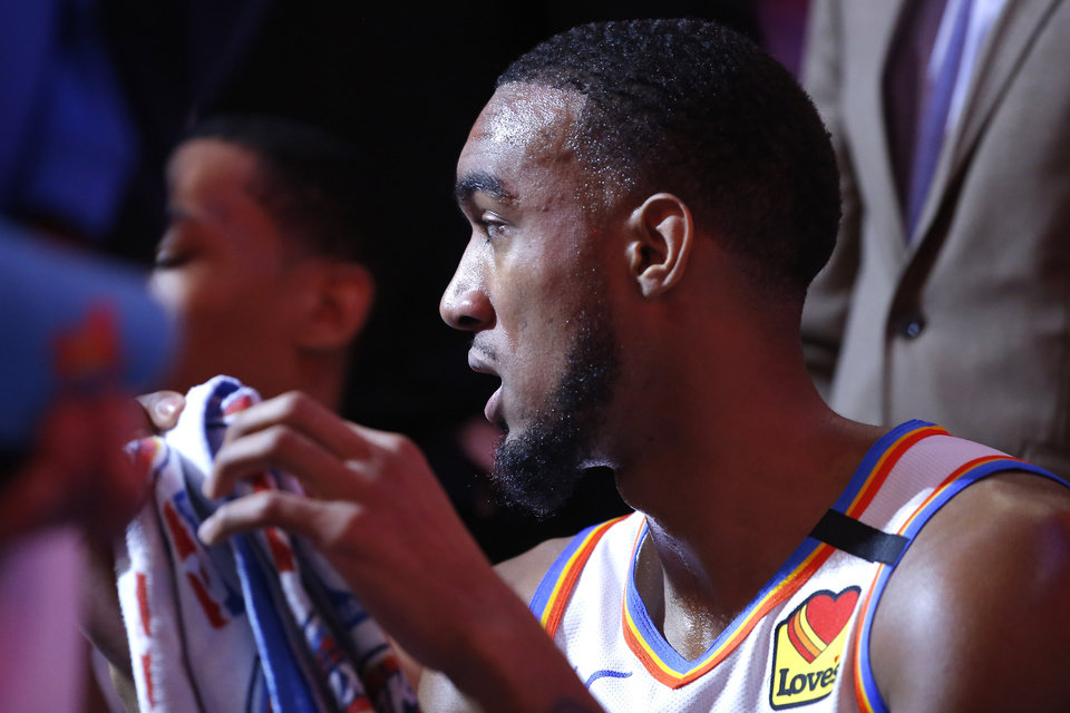 Photo - Oklahoma City's Terrance Ferguson sits during a timeout in an NBA basketball game between the Oklahoma City Thunder and the Cleveland Cavaliers at Chesapeake Energy Arena in Oklahoma City, Wednesday, Feb. 5, 2020. Oklahoma City won 109-103. [Bryan Terry/The Oklahoman]