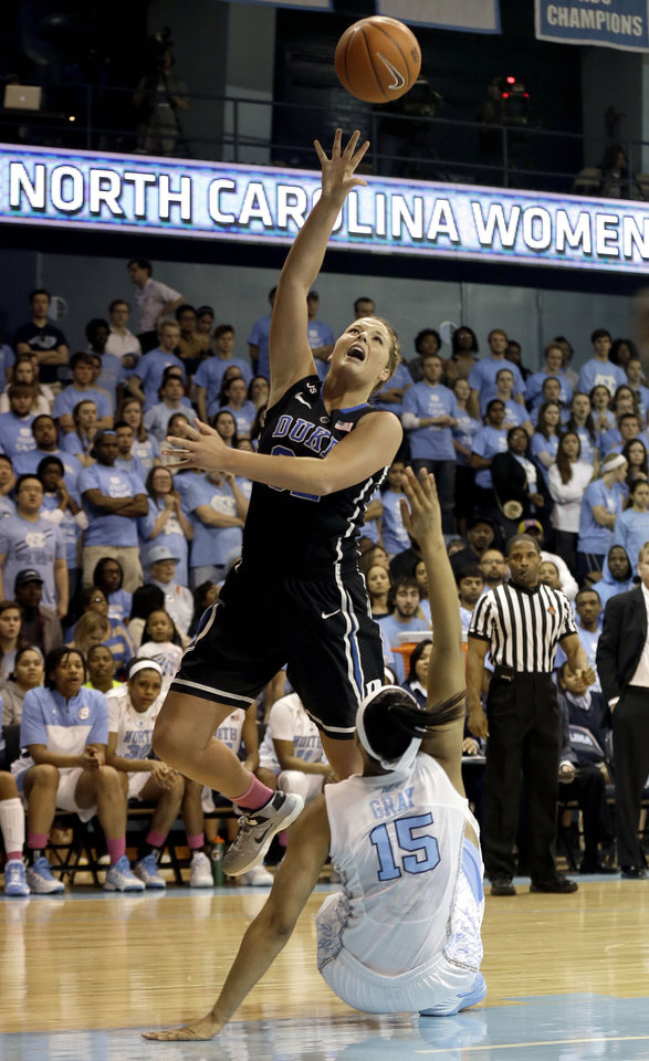 Photo - Duke's Tricia Liston shoots as North Carolina's Allisha Gray (15) falls during the first half of an NCAA college basketball game in Chapel Hill, N.C., Sunday, March 2, 2014. (AP Photo/Gerry Broome)