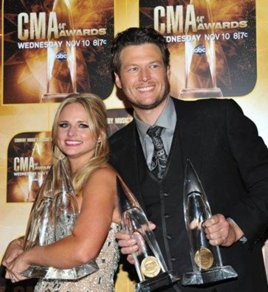 Photo -  Miranda Lambert and Blake Shelton carried off several Country Music Association Awards in November. The country music power couple and Tishomingo residents have four nominations between them for Sunday night's Grammy Awards. (Associated Press file photos)
