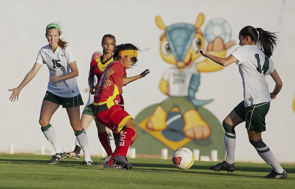 Photo -  The Oklahoma Baptist University women's soccer team competes against a Brazilian team in an exhibition game that was part of an outreach event sponsored by a Brazilian church as part of OBU team's recent visit to the Brazil. Photo provided by Southern Baptist Convention's International Mission Board