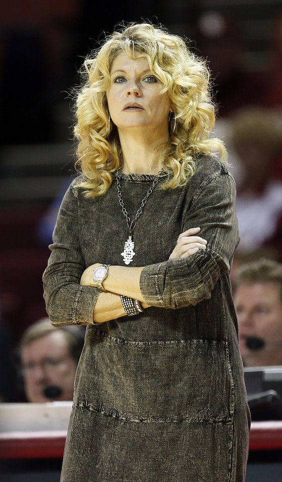 OU head coach Sherri Coale watches from the bench area during a women's college basketball game between the University of Oklahoma Sooners and the Samford Bulldogs at Lloyd Noble Center in Norman, Okla., Sunday, Dec. 29, 2013. OU won, 66-35. Photo by Nate Billings, The Oklahoman