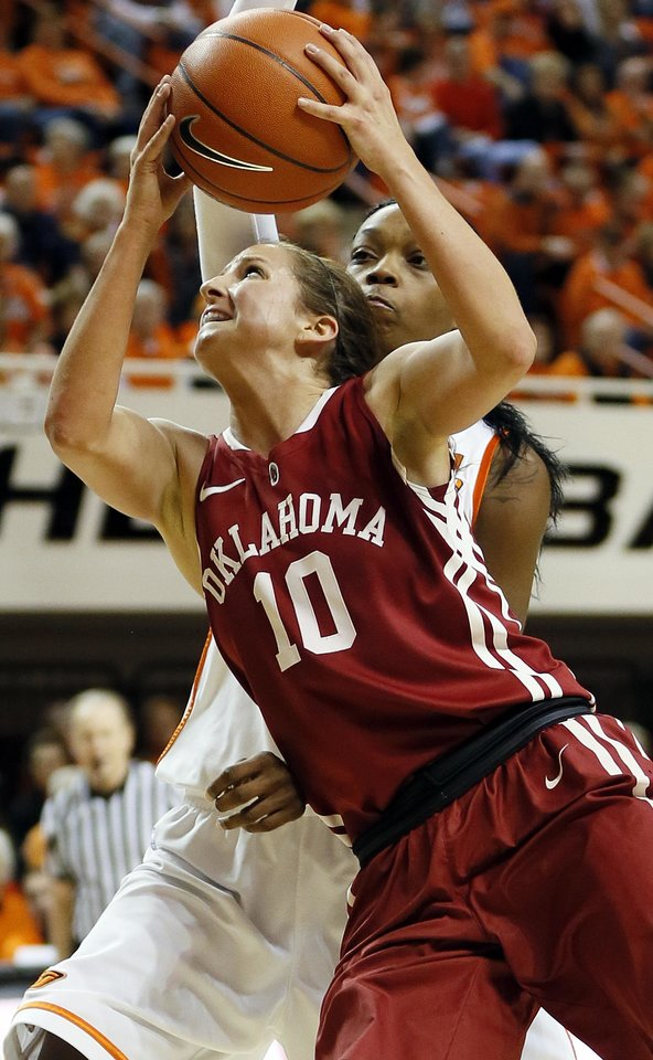 Oklahoma's Morgan Hook (10) takes the ball to the hoop against Oklahoma State's Toni Young (15) during the Bedlam women's college basketball game between Oklahoma State University and the University of Oklahoma at Gallagher-Iba Arena in Stillwater, Okla., Saturday, Feb. 23, 2013. OSU beat OU, 83-62. Photo by Nate Billings, The Oklahoman