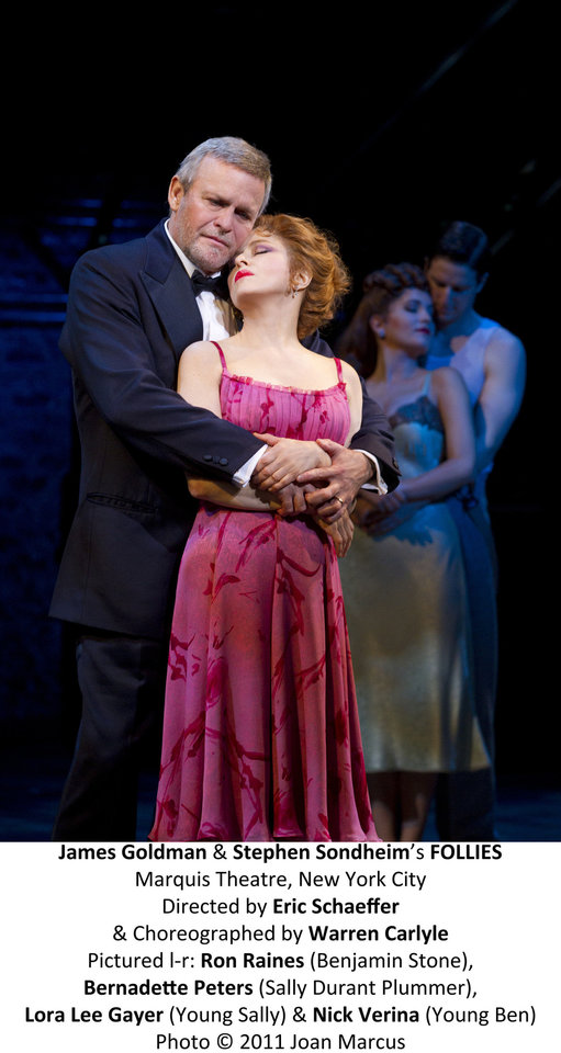 "Ron Raines and Bernadette Peters as Ben Stone and Sally Durant Plummer in the Broadway revival of ""Follies.""   Photo by Joan Marcus <strong>Joan Marcus</strong>"