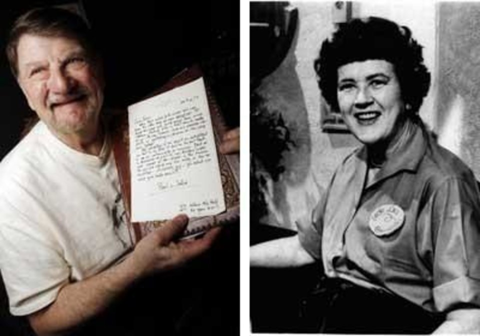 "Left: John Bennett holds one of his many letters from Julia Child.   Photo By Nate Billings, The Oklahoman<br /> Right: This 1967 photo shows Julia Child explaining ""with a little practice"" you can do everything with the flair of a gourmet.  AP FILE PHOTO"