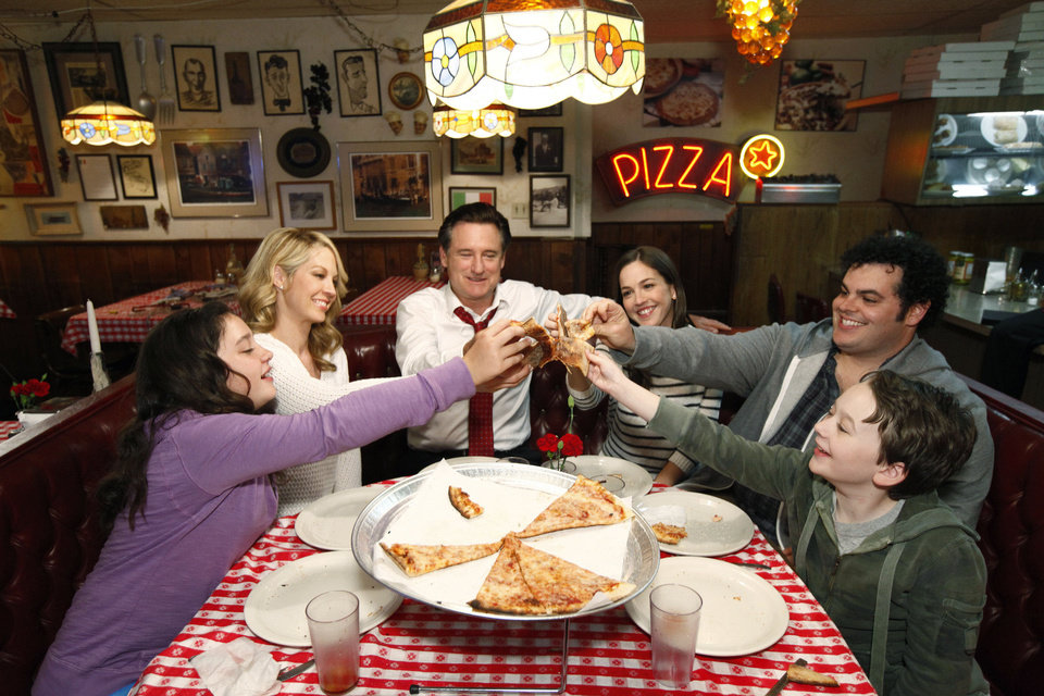 "NBC's ""1600 Penn"" stars, from left, Amara Miller as Marigold, Jenna Elfman as first lady Emily Gilchrist, Bill Pullman as President Dale Gilchrist, Martha MacIsaac as Becca, Josh Gad as Skip and Benjamin Stockham as Xander. NBC photo"
