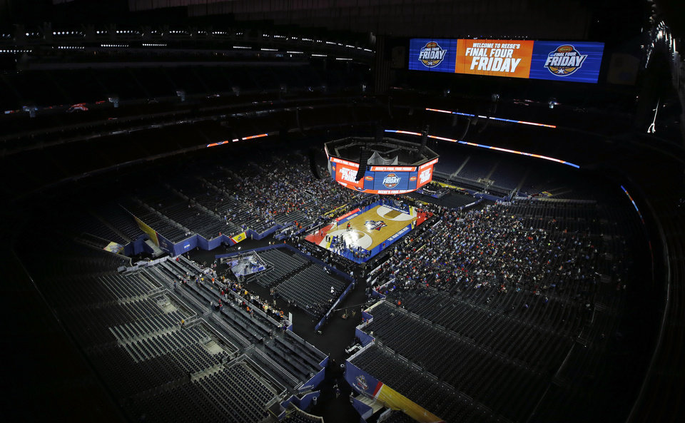 Photo - A view of the inside of the stadium during Final Four Friday before the national semifinal between the Oklahoma Sooners and the Villanova Wildcats in the NCAA Men's Basketball Championship at NRG Stadium in Houston, Friday, April 1, 2016. OU will play Villanova in the Final Four on Saturday. Photo by Nate Billings, The Oklahoman