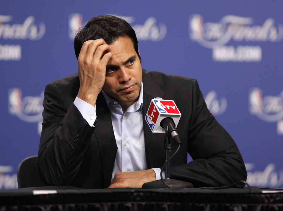 Miami coach Erik Spoelstra listens to a question after Game 1 of the NBA Finals between the Oklahoma City Thunder and the Miami Heat at Chesapeake Energy Arena in Oklahoma City, Tuesday, June 12, 2012. Photo by Bryan Terry, The Oklahoman