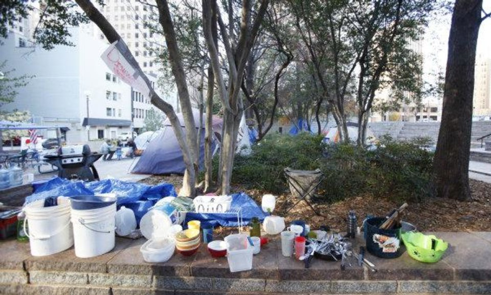 Photo - Above: A wash station has been set up for Occupy OKC protesters in downtown Oklahoma City.