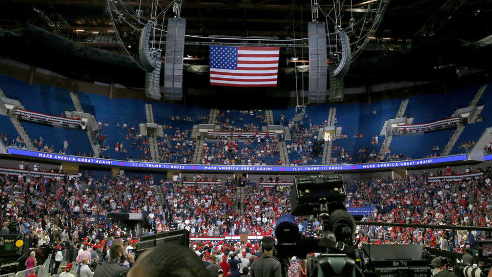 Photo - President Donald Trump speaks during a rally at the BOK Center in Tulsa, Okla., Saturday, June 20, 2020. [Sarah Phipps/The Oklahoman]