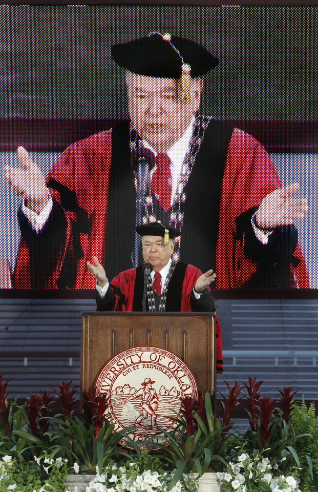 Photo - OU GRADUATION / DAVID BOREN: University of Oklahoma president David L. Boren appears on a television monitor as he praises his scholars during Commencement Ceremony at Gaylord Family - Oklahoma Memorial Stadium on Friday, May 13, 2011, in Norman, Okla.  Photo by Steve Sisney, The Oklahoman ORG XMIT: KOD