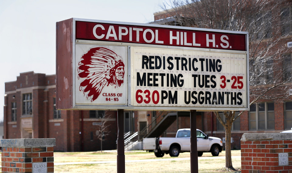 Photo - A message sits on the marquee in front of Capitol Hill High School on Monday, March 24, 2014. Photo by Jim Beckel, The Oklahoman