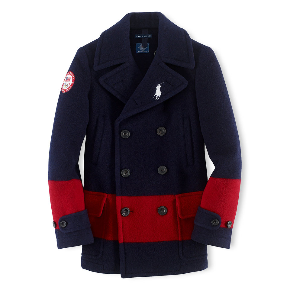 This undated product image provided by Ralph Lauren shows a navy peacoat with a red stripe, part of the official gear of the U.S. Olympic team. Every article of clothing made by Ralph Lauren for the U.S. Olympic athletes in Sochi has been made by domestic craftsman and manufacturers. (AP Photo/Ralph Lauren)