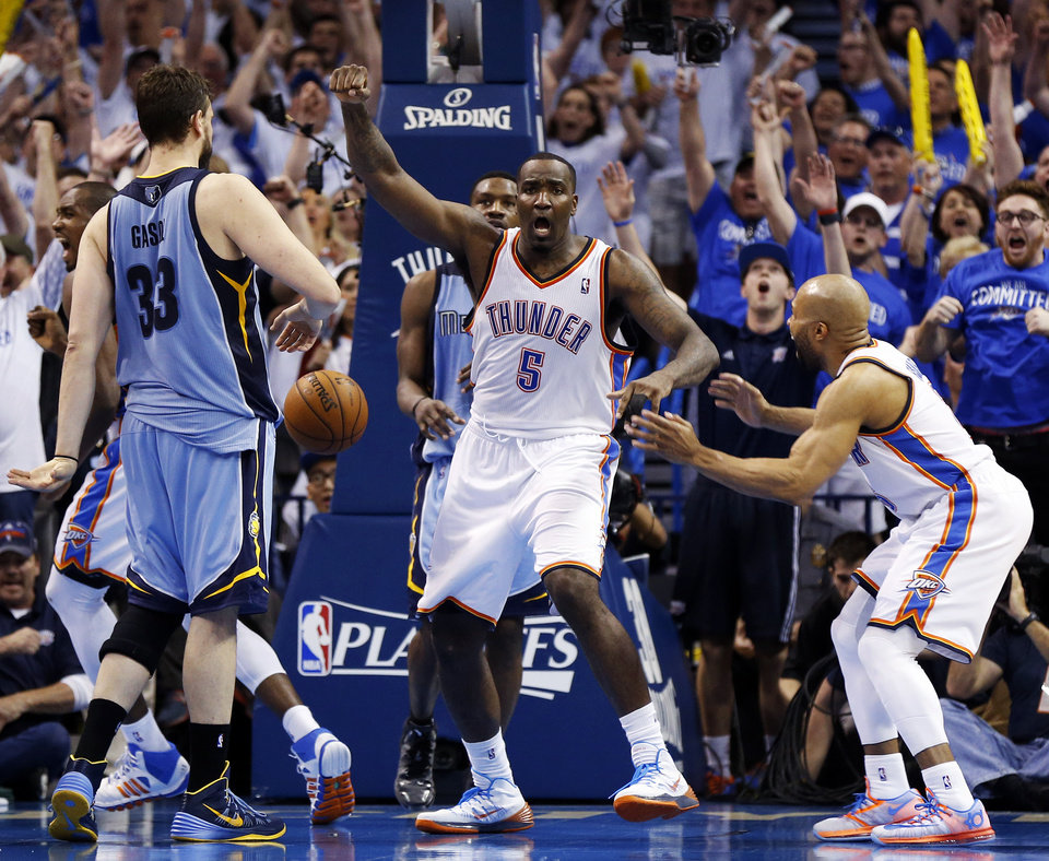 Photo - Oklahoma City's Kendrick Perkins (5) reacts between Derek Fisher (6) and Memphis' Marc Gasol (33) after making a shot to send the gam to overtime during Game 2 in the first round of the NBA playoffs between the Oklahoma City Thunder and the Memphis Grizzlies at Chesapeake Energy Arena in Oklahoma City, Monday, April 21, 2014. Memphis won 111-105 in overtime. Photo by Nate Billings, The Oklahoman
