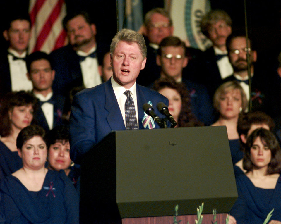 Photo - President Bill Clinton speaks at a prayer service for the victims of the Federal Building bombing at the State Fairgrounds, Sunday, April 23, 1995 in Oklahoma City. (AP Photo/David Longstreath)