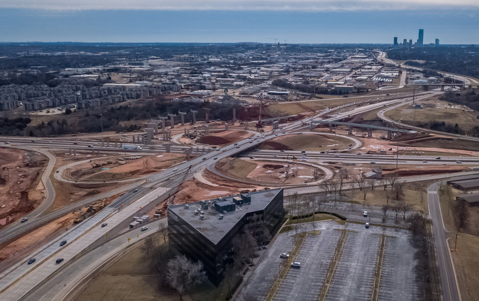 Photo - Aerial image of construction at the I-235 and I-44 interchange, looking south/southeast. [Dave Morris/The Oklahoman]