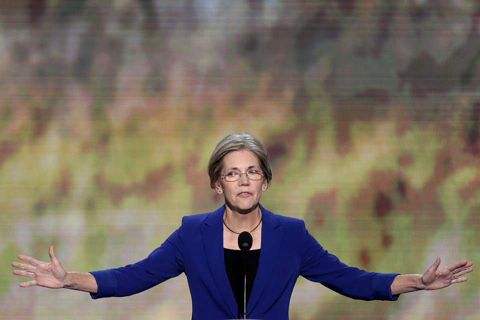 Photo - Senate candidate from Massachusetts Elizabeth Warren addresses the Democratic National Convention in Charlotte, N.C., on Wednesday, Sept. 5, 2012. (AP Photo/J. Scott Applewhite)  ORG XMIT: DNC173