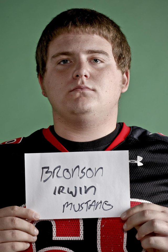 Photo - HIGH SCHOOL FOOTBALL / ALL CITY MUG SHOTS: Bronson Irwin of Mustang High School on Monday, Dec. 14, 2009, in Oklahoma City, Okla.   Photo by Chris Landsberger, The Oklahoman ORG XMIT: KOD