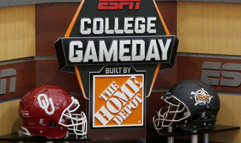 Photo - The OU and OSU helmets are on the set during filming of College Football Live on the ESPN College GameDay Built by the Home Depot set on the campus of Oklahoma State University in Stillwater, Okla.,  Friday, Nov. 3, 2017. Photo by Sarah Phipps, The Oklahoman