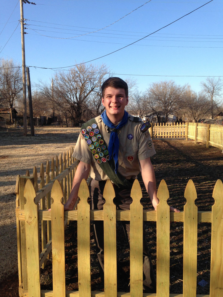Photo - Timothy Roy built a fence around an Oklahoma City community garden for his Eagle Scout service project. PHOTO PROVIDED